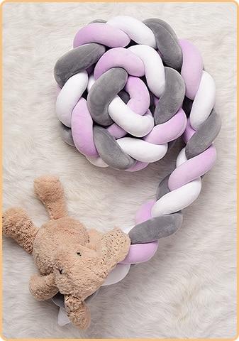 5# C PimeO Braided Cot GuardrailBaby Crib Cushion Knotted Plush Pillow for Boy Girl Nursery