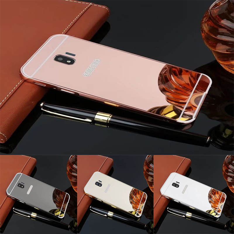 Luxury Rose Gold Mirror Cases For <font><b>Samsung</b></font> <font><b>Galaxy</b></font> <font><b>J2</b></font> Pro <font><b>2018</b></font> Alumimum Metal Frame shell Cover for <font><b>Samsung</b></font> <font><b>SM</b></font>-<font><b>J250F</b></font> image