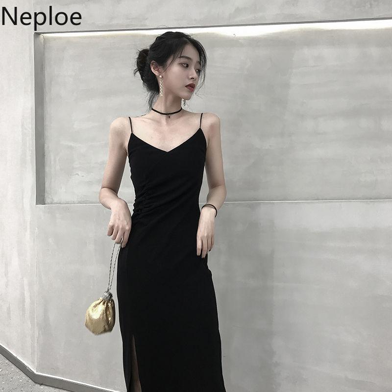 Neploe осень весна 2021 новый черный низ платье на бретельках без рукавов с сексуальной открытой спиной и длинным Vestido сбоку Разделение дизайн Ropa дикий 48667