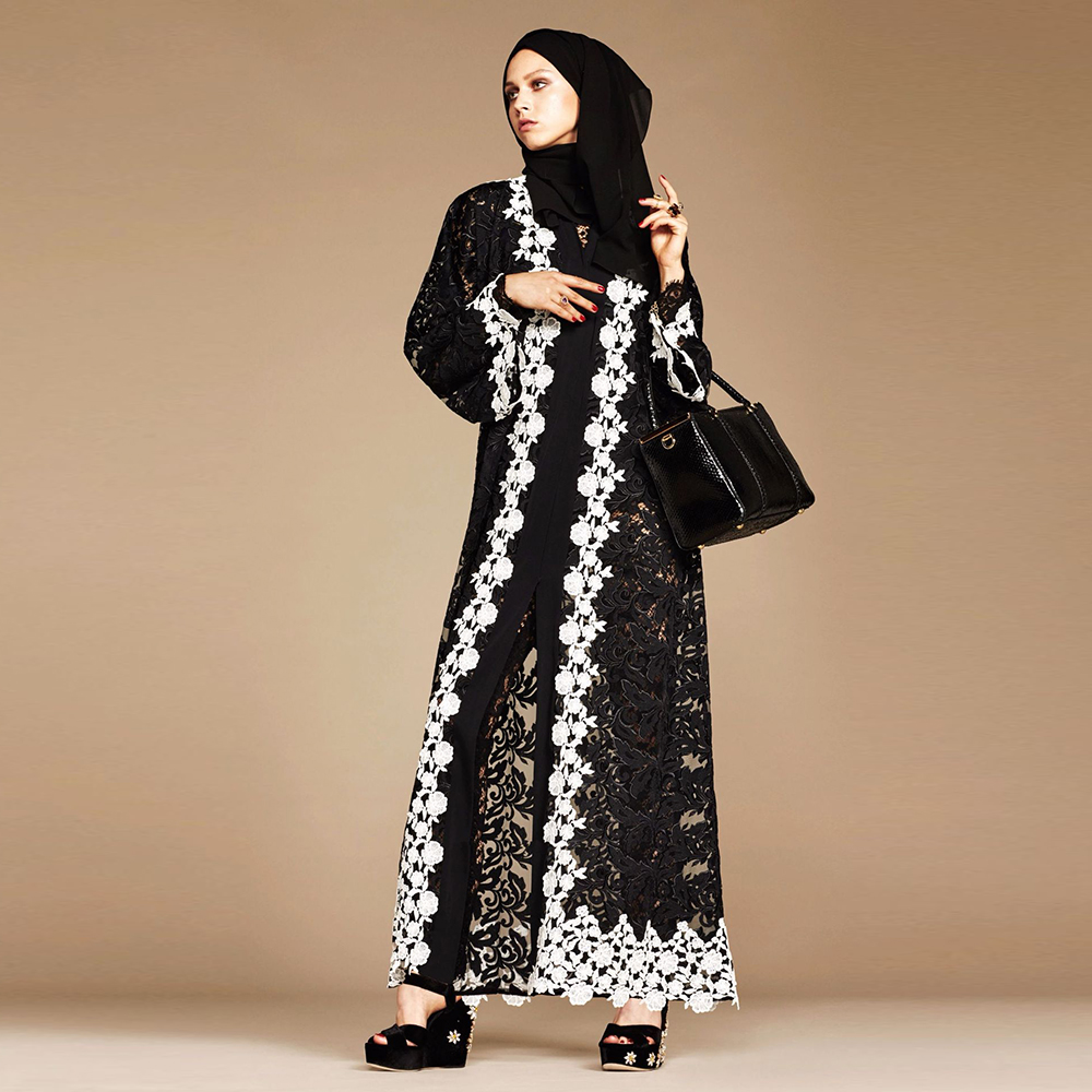 Black Lace Kaftan Abaya Dubai Kimono Hijab Muslim Dress Abayas For Women Caftan Marocain Ramadan Islamic Clothing Robe Musulman