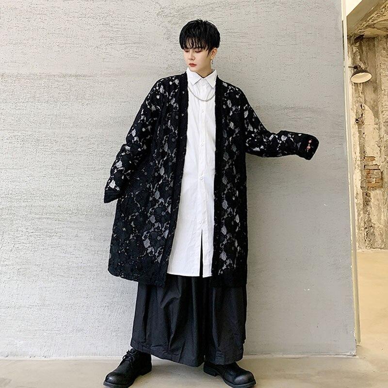 Men Embroidery Lace Loose Casual Long Cardigan Trench Jacket Male Women Streetwear Gothic Japan Kimono Windbreaker Coat