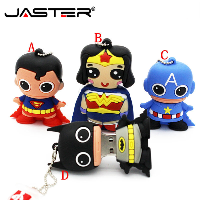 JASTER 2019 New Mini Superman Usb Flash Drive 4gb 8gb 16gb Pendrive 32gb 64gb US Captain Batman Drive Creative Mini U Disk