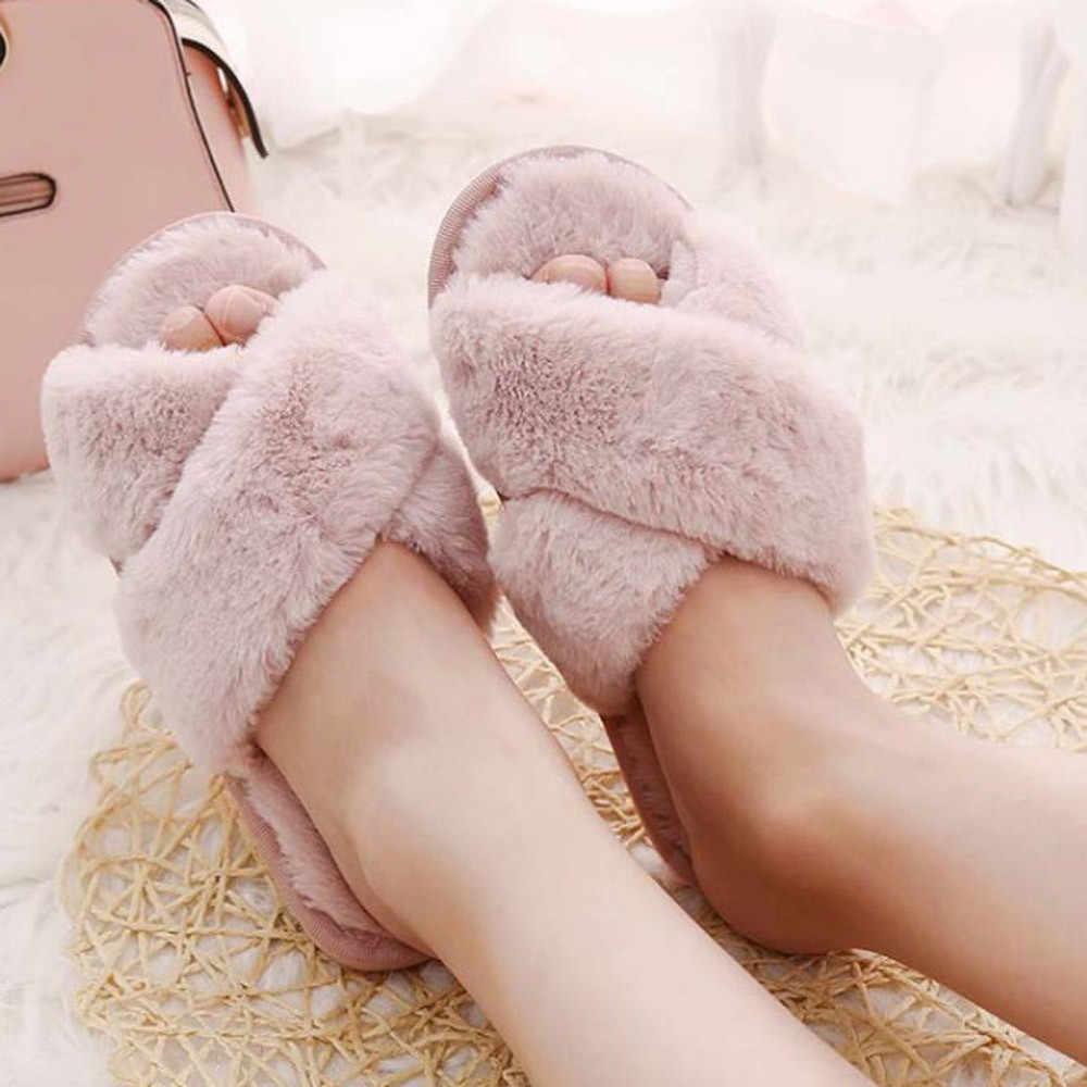 Zapatillas de casa de invierno para mujer, con piel sintética, de moda, zapatos cálidos para mujer, deslizantes para mujer, deslizamientos femeninos, Negro, Rosa, de talla grande 2019
