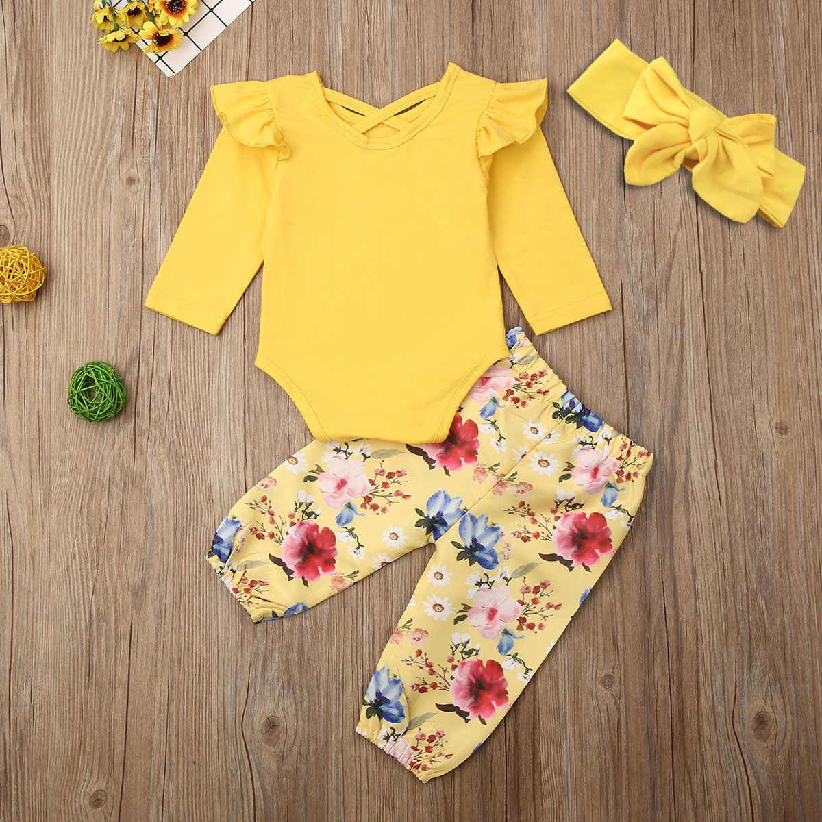 3 uds. Ropa de niña recién nacida con volantes mono liso pantalones florales diadema conjunto de trajes de otoño 0-24M