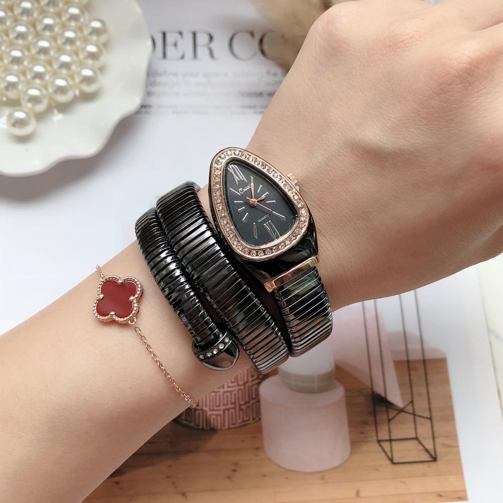 New Women Luxury Brand Watch Snake Quartz Ladies Gold Watch Diamond Wristwatch Female Fashion Bracelet Watches Clock CLOVER JEWELLERY