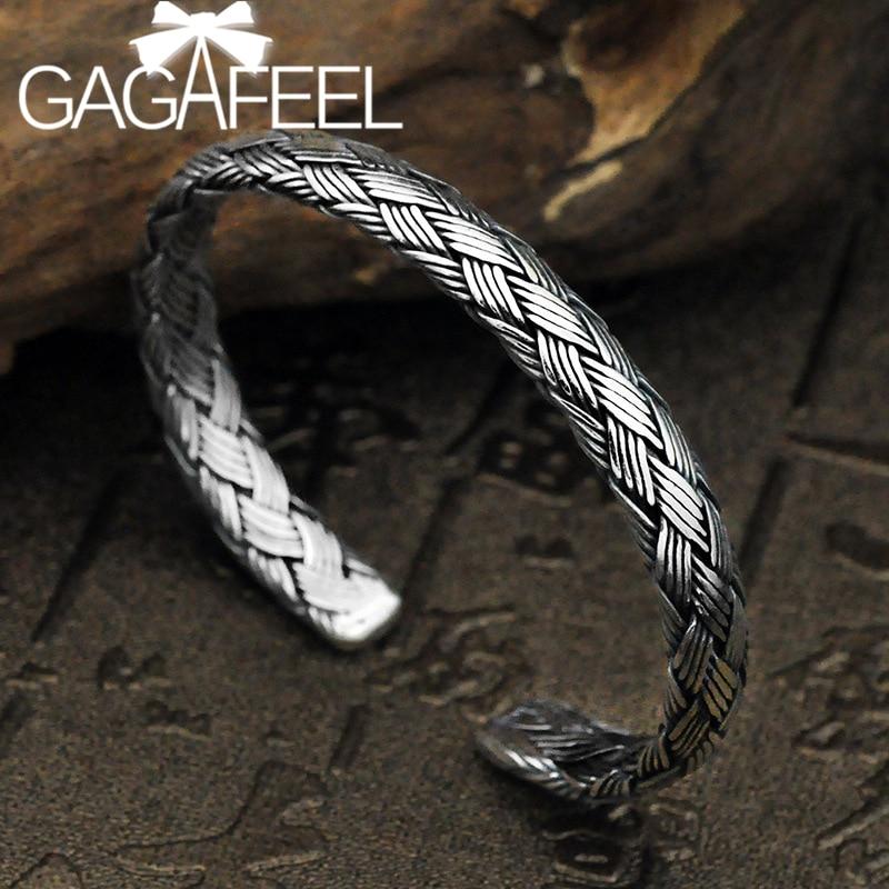GAGAFEEL S925 Серебряный винтажный Твист браслет браслеты для мужчин и женщин ювелирные изделия подарки классические талисманы твист провода от