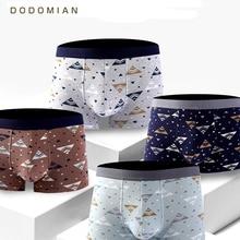 4 pièces \ Lot sous vêtements masculins DODOMIAN ceinture large élastique hommes sous pantalon solide coton culotte modèle Boxer Sexy grande taille