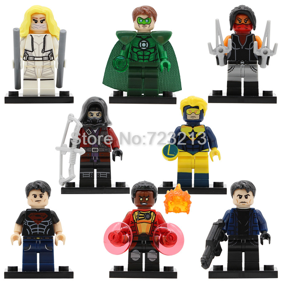 Hero Figure Superboy White Canary Firestorm Captain Booster Gold Elektra Green Lantern Merlyn Building Blocks Toy Legoing