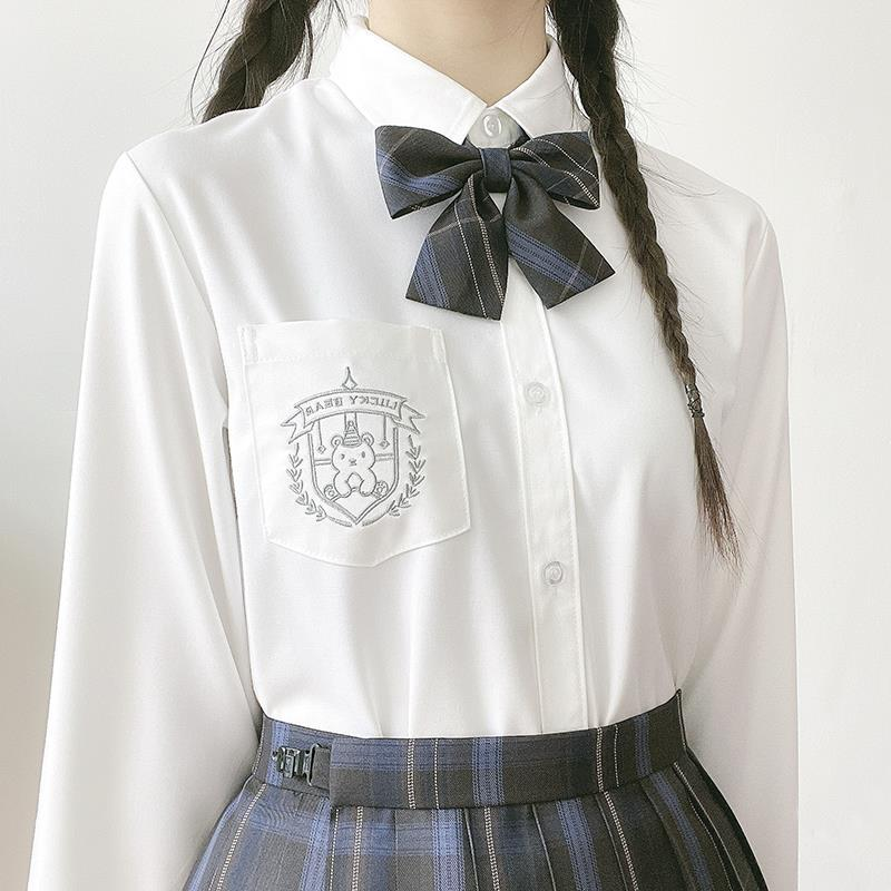 JK Uniform Embroidered Jk Shirt Spring Autumn School Girl Long Sleeve White Base Shirt