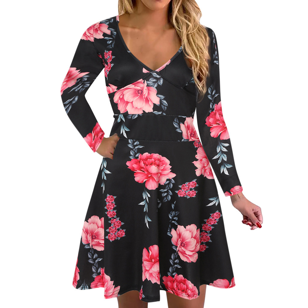long sleeve dress women casual Fashion V-Neck Floral Print Dress Long Sleeve Party Dresses black 2020#3