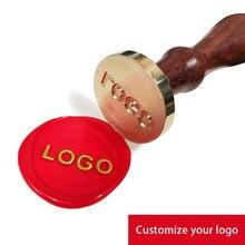 Sceau de cire avec Logo personnalisé, tête métallique, tampon rétro et Antique, Image personnalisée, plusieurs tailles disponibles