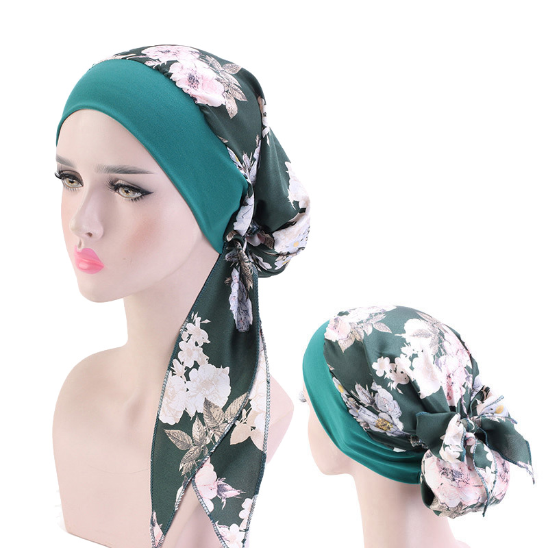 Fashion Print Flowers Women Inner Hijabs Cap Muslim Head Scarf Turban Bonnet Ready To Wear Islamic Ladies Wrap Under Hijab Caps