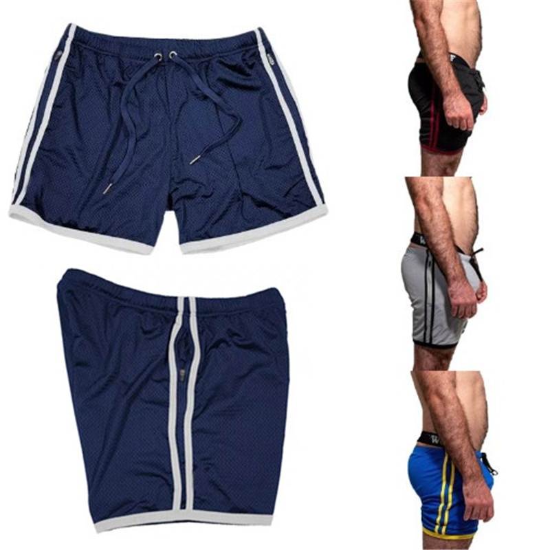 2019 Summer Men Shorts Zip Pocket Gyms Fitness Workout Breathable Mesh Quick-Drying Shorts Sportswear Joggers New Beach Shorts