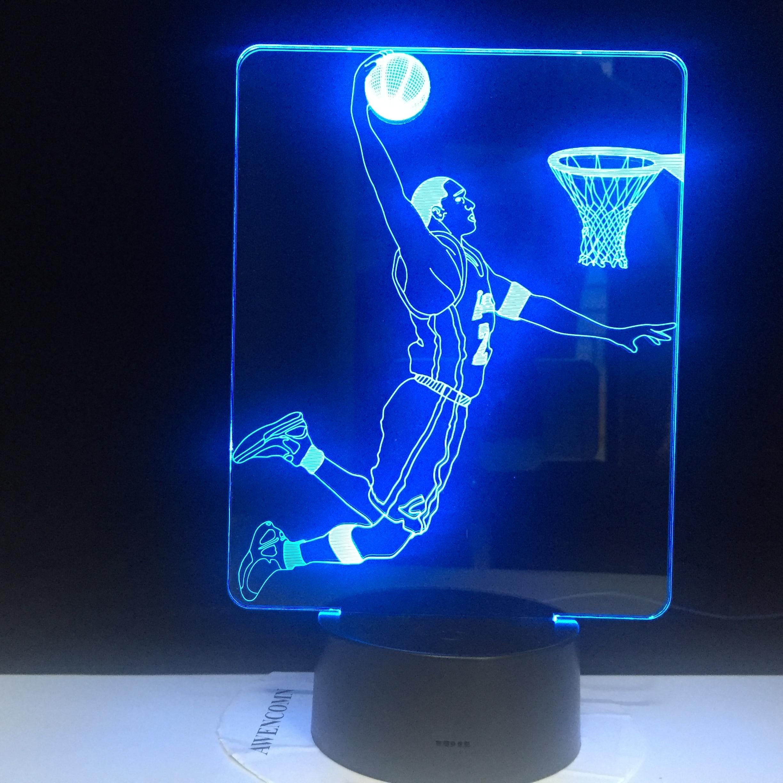 Slum Dunk Figure 3d LED Night Light Lamp Jordan Sports Basketball Home Decoration Birthday Gift For Kids Boy Child Nightlight