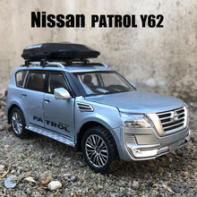 1:32 Nisssan PATROL Y62 Car Model Diecast Alloy Car Travel Rack Sound Light Pull Back Collection Toy Car For Children Christmas