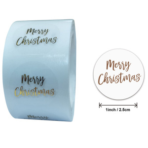 50pcs Round Clear Merry Christmas Stickers Thank You Card Box Package Label Sealing Stickers Wedding Decor Stationery Sticker