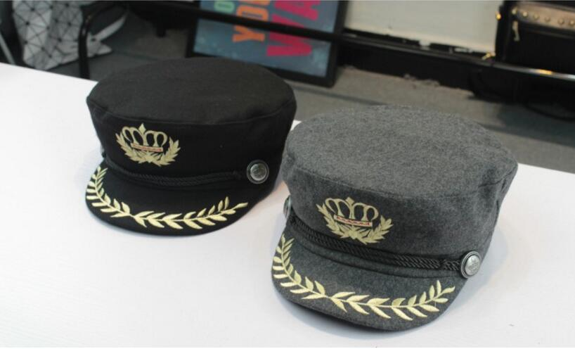 hats Crown Embroidered Badge Military Hats Flat-Topped Unisex Navy Hats Polyester Handsome Caps Four Seasons For People