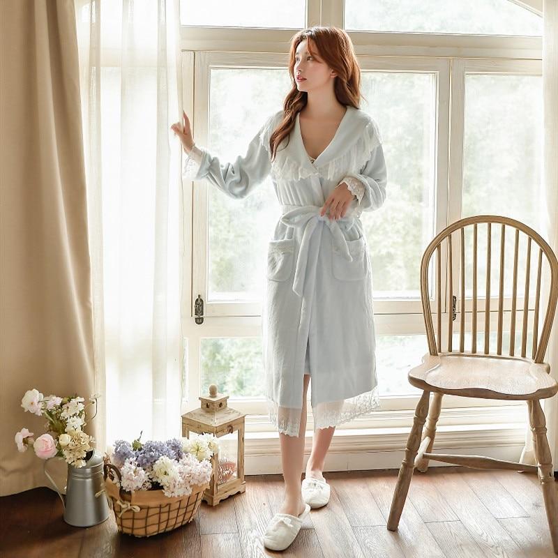 Winter Warm Thick Velvet 2 Pieces Women's Robe Sets Long Sleeve Bathrobe Female Loose Sleepwear Home Clothes 56