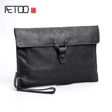 AETOO Sheepskin handbag mens leather fashion business casual envelope bag trend
