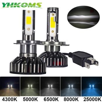 YHKOMS Mini Size Car Headlight H4 H7 LED 3000K 4300K 5000K 6500K 8000K 25000K H1 H8 H9 H11 9005 9006 Bulb Auto Fog Light 12V