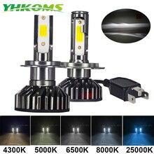 Yhkoms mini tamanho farol do carro h4 h7 led 3000k 4300k 5000k 6500k 8000k 25000k h1 h8 h9 h11 9005 9006 lâmpada led luz de nevoeiro automóvel 12v
