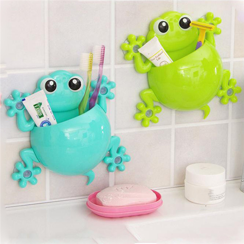 Cute Kids Toothpaste Holder Wall Mounted Suction Cup Bathroom Decor Powerful Sucker Cartoon Frog Toothbrush Holder New @A