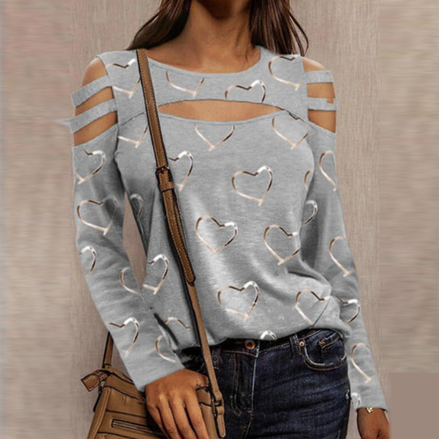 Women Casual O Neck Blouses Tops Sexy Ladies Hollow Out Long Sleeve Pullovers 2021 Spring Elegant Love Heart Print Shirt Blusas 4