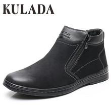 KULADA nowe buty zimowe mężczyźni trzewiki na śnieg wysokiej jakości ręcznie robione buty do pracy na świeżym powietrzu Super Plus rozmiar mężczyźni ciepłe buty zimowe tanie tanio Buty śniegu ANKLE Stałe Dla dorosłych Pluszowe Plush Okrągły nosek Zima Med (3 cm-5 cm) DM0921-2A DM0921-2 Pasuje prawda na wymiar weź swój normalny rozmiar