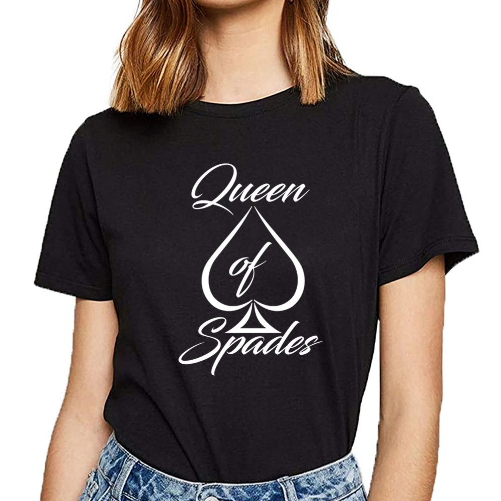 Tops T Shirt Women Queen Of Spades Black Vogue Vintage Print Female Tshirt