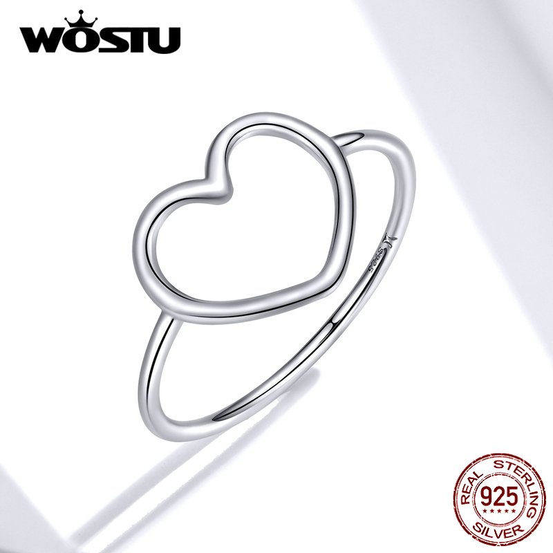WOSTU 100% 925 Sterling Silver Heart Ring For Women Wedding Engagement Simple Rings Finger Party Fashion Jewelry Gifts CQR641