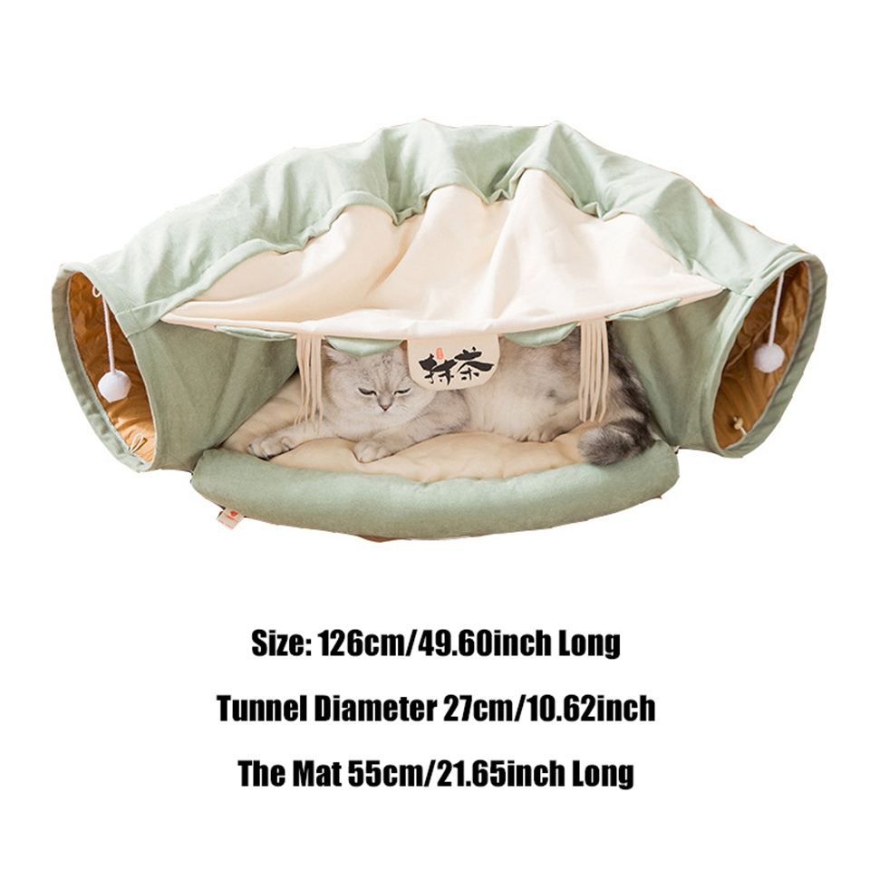 Funny Cat Tunnel bed Collapsible Crinkle Pet tent Kitten Puppy  Ferrets Rabbit interactive Toys 2 holes Tunnel  Pet cat nest 7