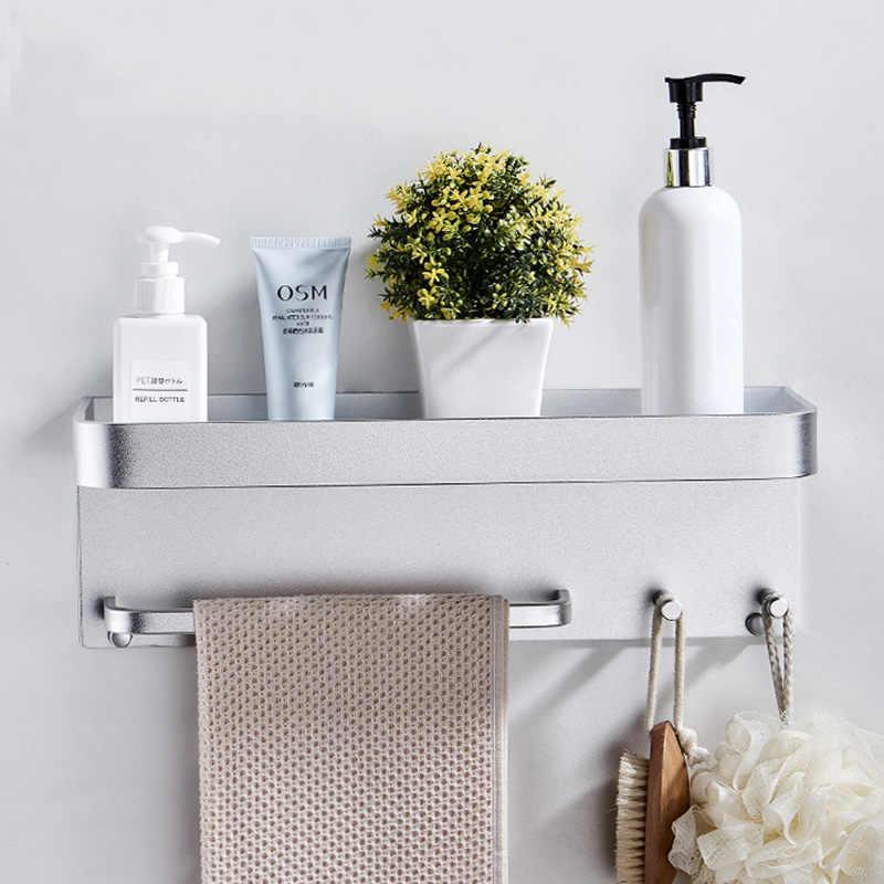 Nail Free Black Space aluminiowe półki łazienkowe z haczykami do montażu na ścianie półka łazienkowa wanna do przechowywania haczyk do przechowywania łatwy w montażu D
