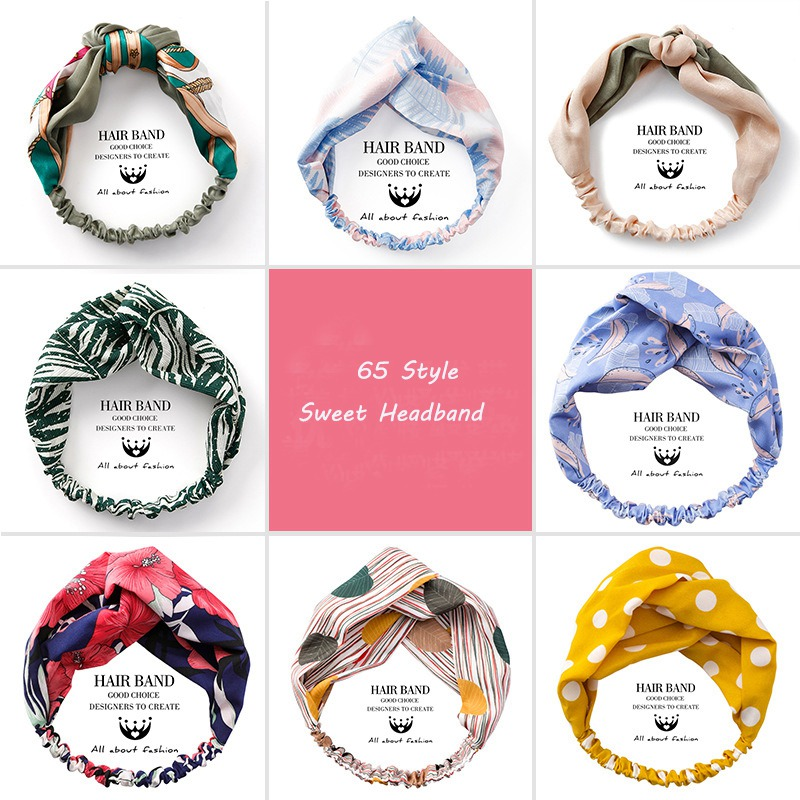 MENGJIQIAO 2019 New Style Fabric Cross Knotted Bow Chiffon Floral Fashion Headband Bohemian Turban Hair Accessories Headwrap