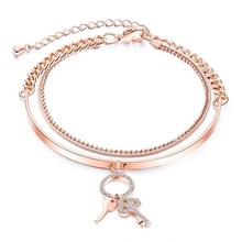 New Jewelry Copper Plated Women Bracelet Multi-Layer Rose Gold Pendant Chain All-Match Key Bangle