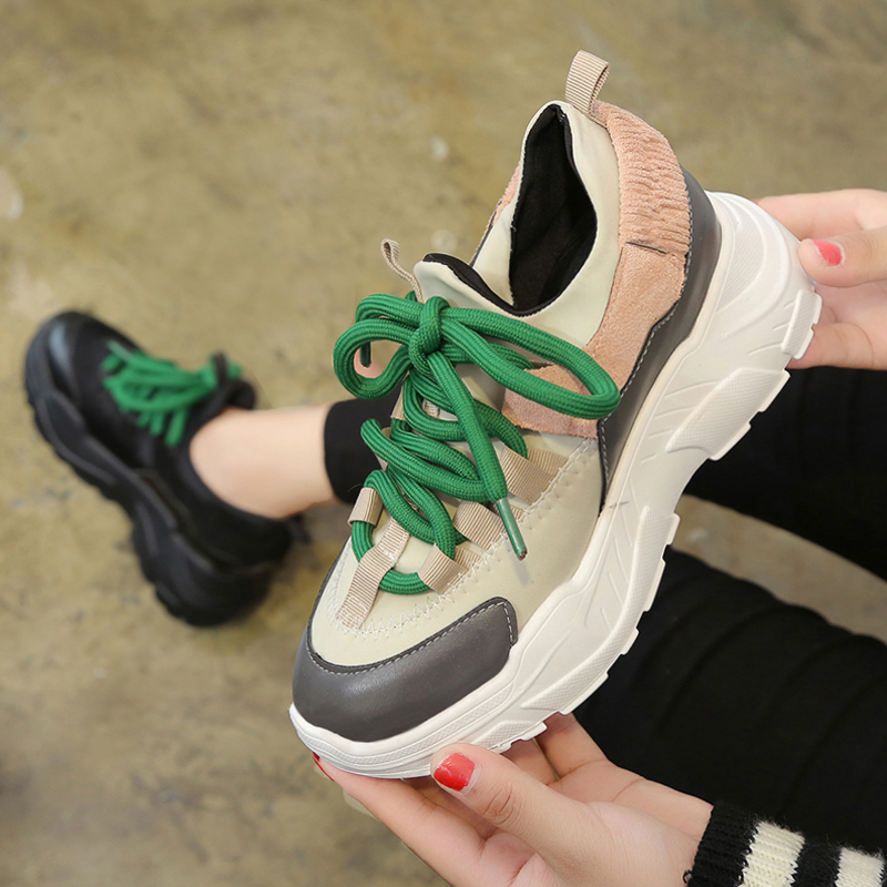 Women's Sneakers With Platform Womens Shoes Tennis Female shoes Thick Woman Trainers Fashion Summer Heels Riband Autumn PU
