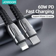 Joyroom 60w pd usb tipo c cabo para iphone 12 11 pro xs max carregador de carregamento rápido para macbook ipad tipo-c usbc cabo de fio de dados