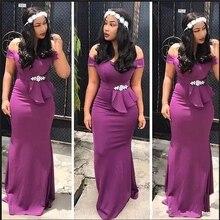 Prom-Dress Mermaid-Bridesmaid-Dresses Party-Gown Vestidos Wedding Purple Off-Shoulder