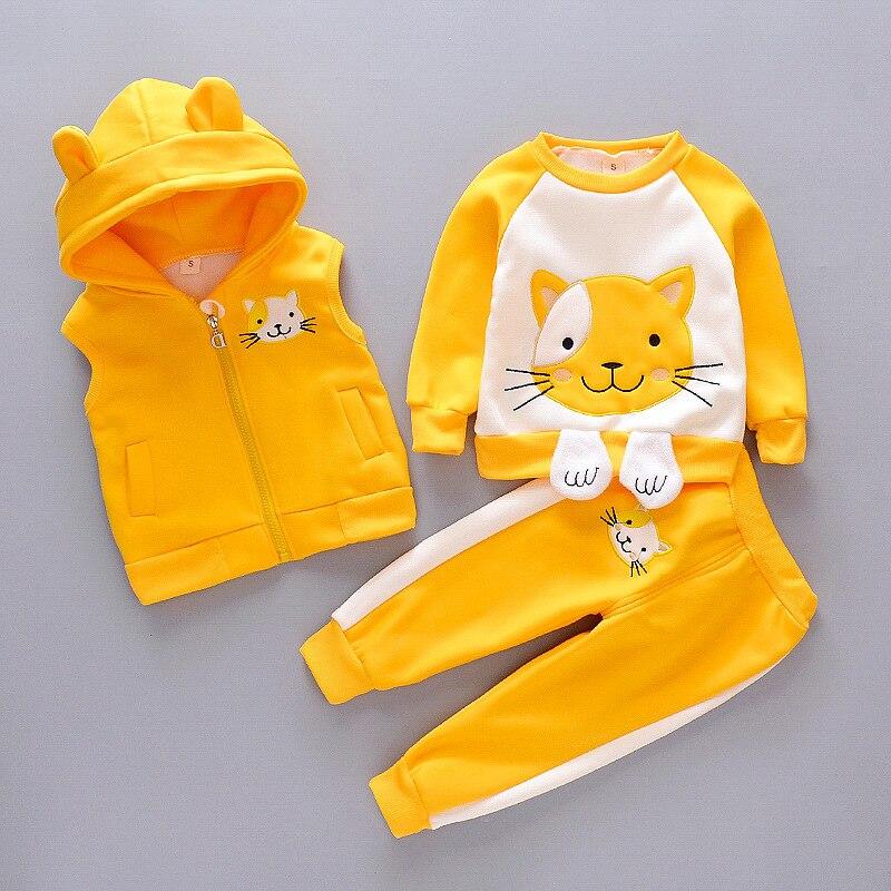 Одежда для маленьких девочек, теплая бархатная одежда золотистого цвета для маленьких мальчиков, толстый свитер с милым мультяшным принтом кошки, куртка жилет с капюшоном, 3 шт.|Комплекты одежды|   | АлиЭкспресс