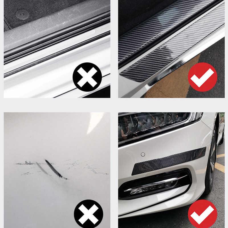 สติกเกอร์คาร์บอนไฟเบอร์คาร์บอน 5D สติกเกอร์รถยนต์และ Decals ป้องกันประตู DIY ไวนิลฟิล์ม Auto แบบเต็มรูปแบบ -Scratch Strip