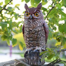 Espantapájaros de adorno de búho, estatua realista para hacer sonido, búho artificial, Protector de Jardín pintado a mano para exteriores, plagas, pájaro disuasorio