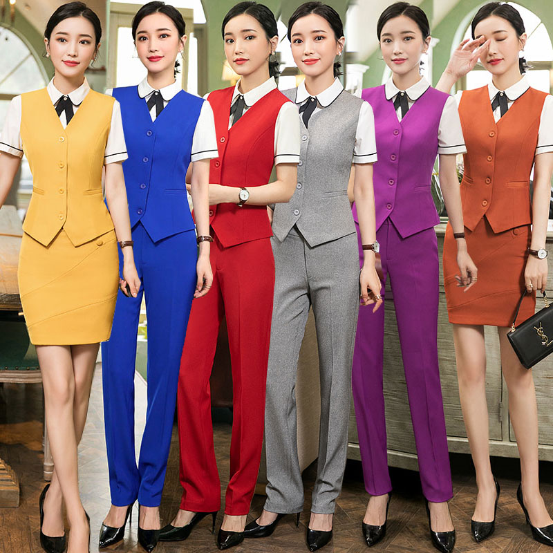 IZICFLY Spring Summer Formal Vest & Waistcoat Plus Size Ladies Suits Business with Skirt and Jacket Pant Sets Office Uniforms