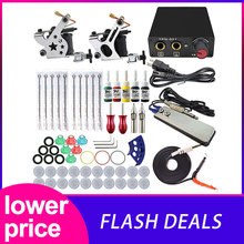 Hot Complete Tattoo Machine Kit Set 2 Coils Guns 5 Colors Black Pigment Sets Power Tattoo Beginner Grips Kits Permanent Makeup complete tattoo kits 8 wrap coils guns machine 1 6oz black tattoo ink sets power supply disposable needle free shipping