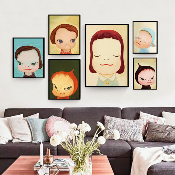 Japanese Cartoon Yoshitomo Nara Sleepwalking Dolls Canvas Art Painting Print Poster Picture Wall Art For Baby Room Home Decor image