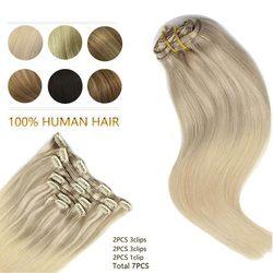 Волосы Remy Клип В Пряди человеческих волос для наращивания натуральный черный светильник коричневый Мёд блондинка с эффектом деграде (перех...
