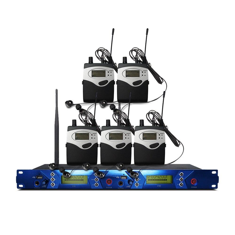 Professionelle wireless in-ear monitoring system, professionelle bühne leistung überwachung system mit 5 bodypack sender