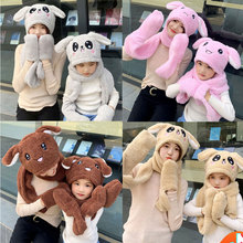 Hats Children Gloves Scarf Moving Bunny Rabbit Plush Winter Baby-Girls Women Caps Kids