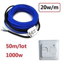 50m 1000w רצפת חימום כבל 20 w/m 5mm חם חוט שימוש עם 220V טמפרטורת בקר