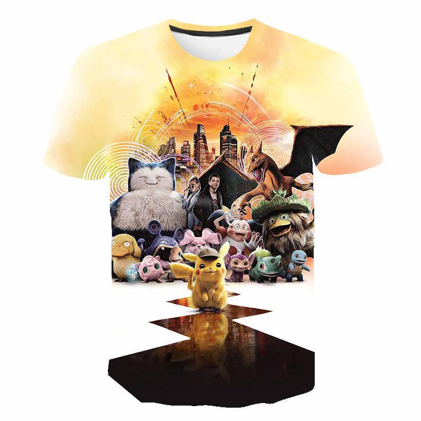 Camiseta de Color de verano paquete callejero Pokemon Pikachu camiseta para niños hombres/mujeres de manga corta moda Hip Hop 3D camiseta estampada