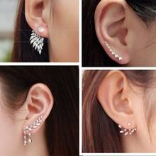 Stud-Earrings Angel-Wings Flowers Wedding-Jewelry Pendientes Pearls Women Brincos New-Fashion