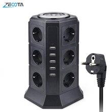 Turm Multi Power Streifen Vertikale EU Stecker 12 Weg Outlets Steckdosen mit USB Surge Protector Schaltung Schutz 2m Verlängerung schnur